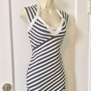 NWT Black/White Striped BRANDI Dress by GUESS